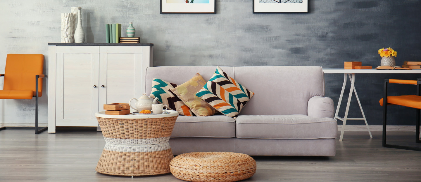 Modern living room with couch and throw pillows