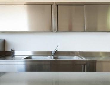 Kitchen with stainless steel equipments