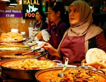 A women selling halal food