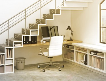Home office set under stairs