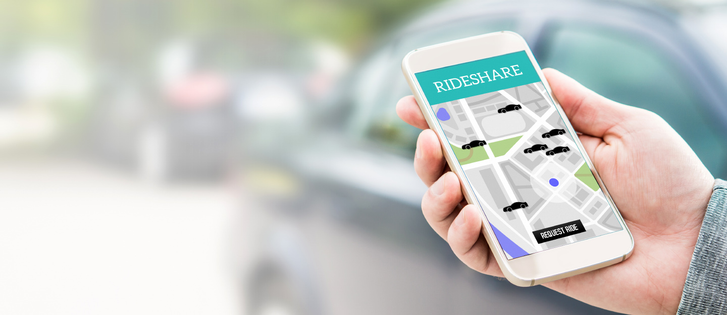 A ride share app on a smartphone screen