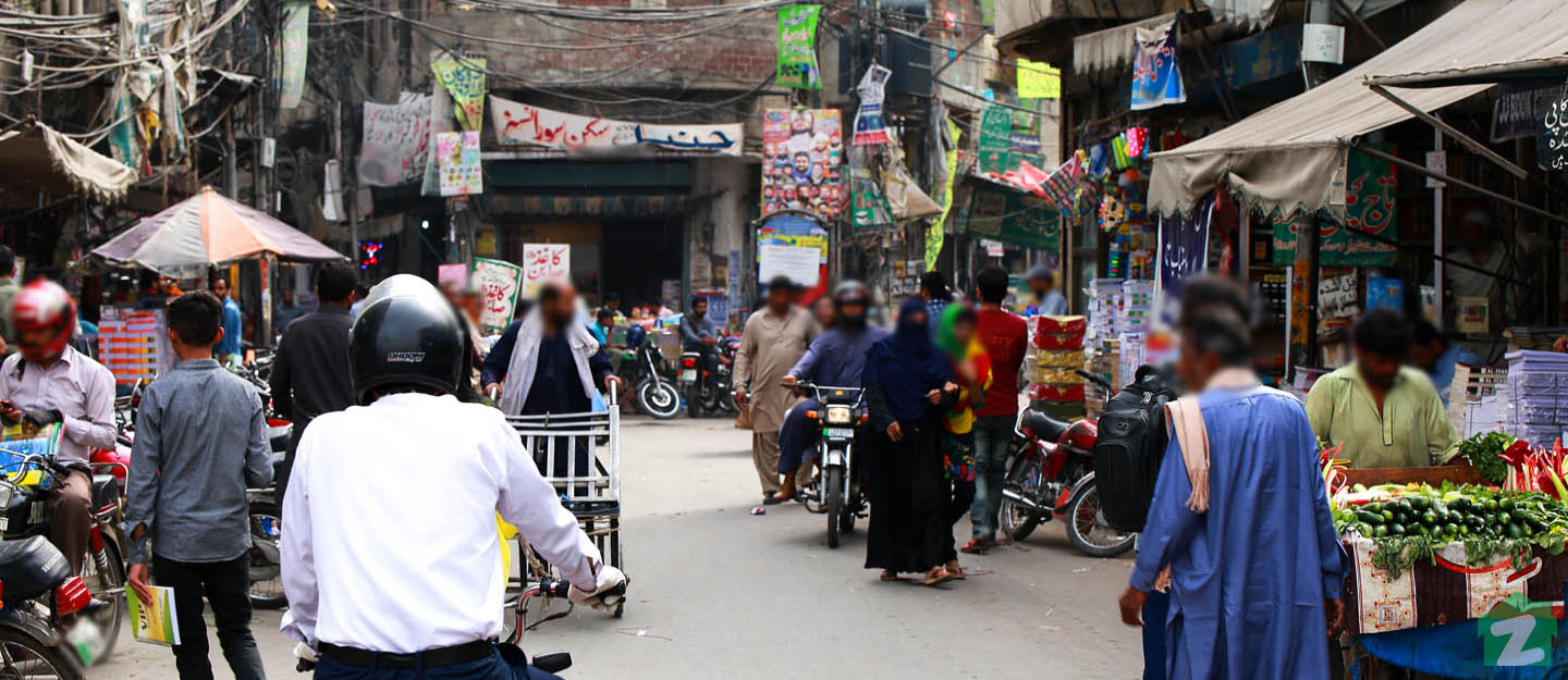 A view of a bazaar in Lahore