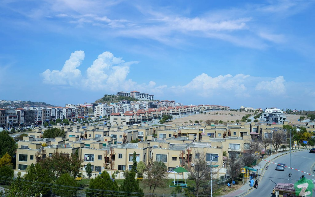 The residential area of Bahria Town Islamabad features rows of identical houses