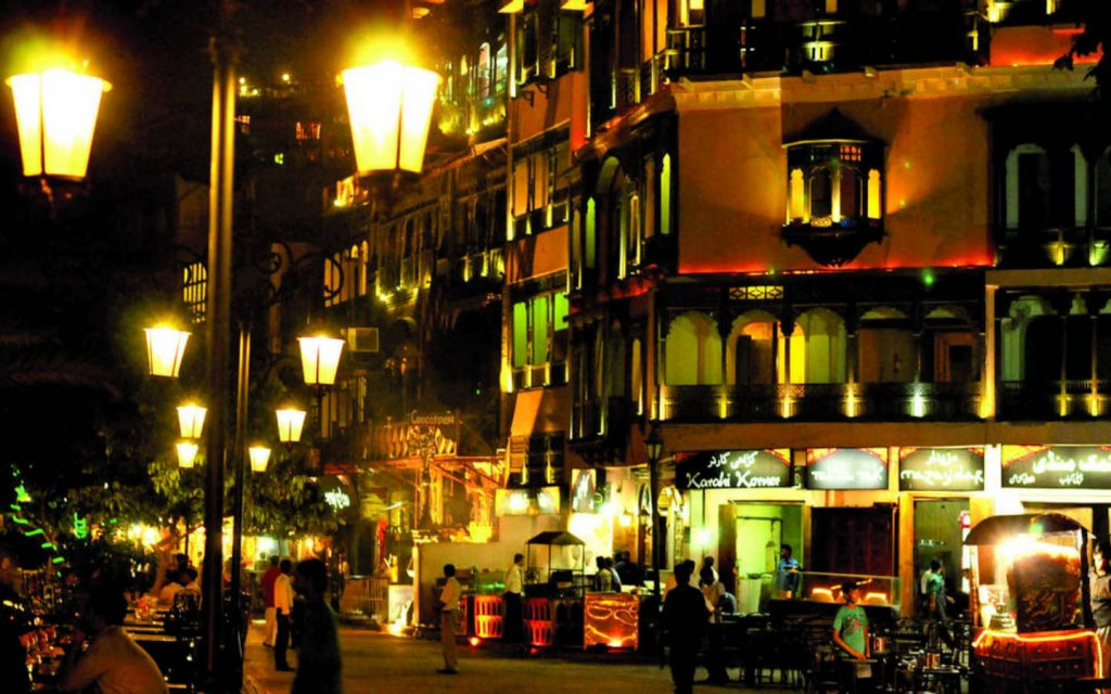 Lahore Fort Food Street at night
