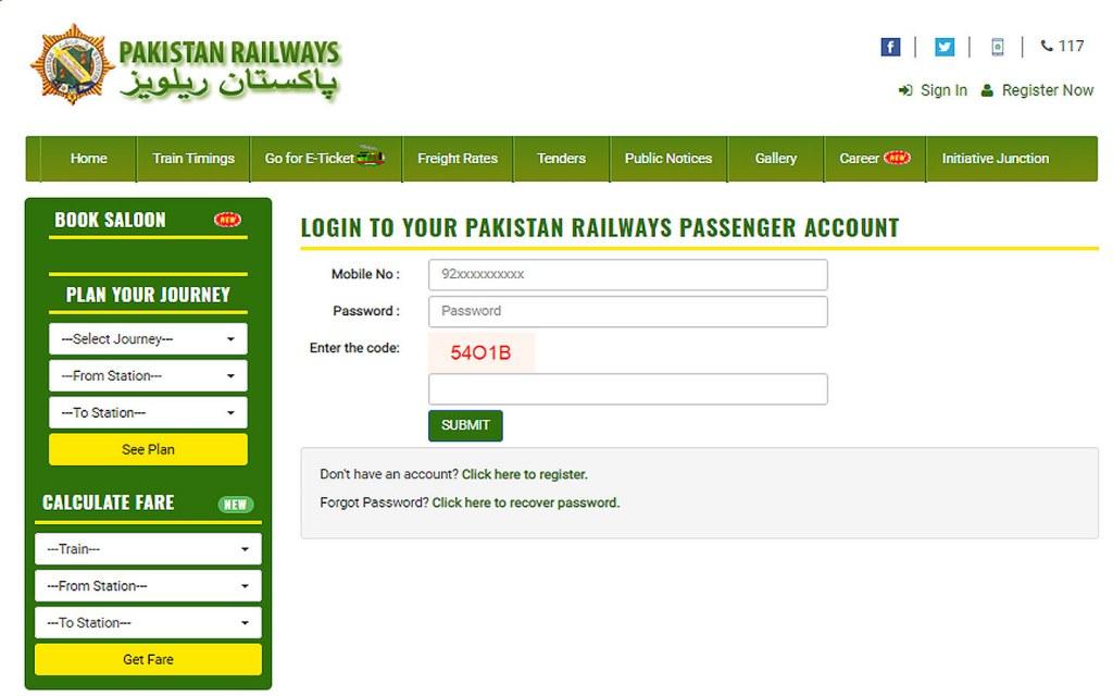 railway booking website in Pakistan