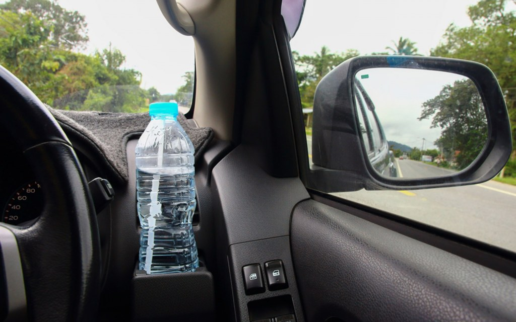 Used water bottle in car