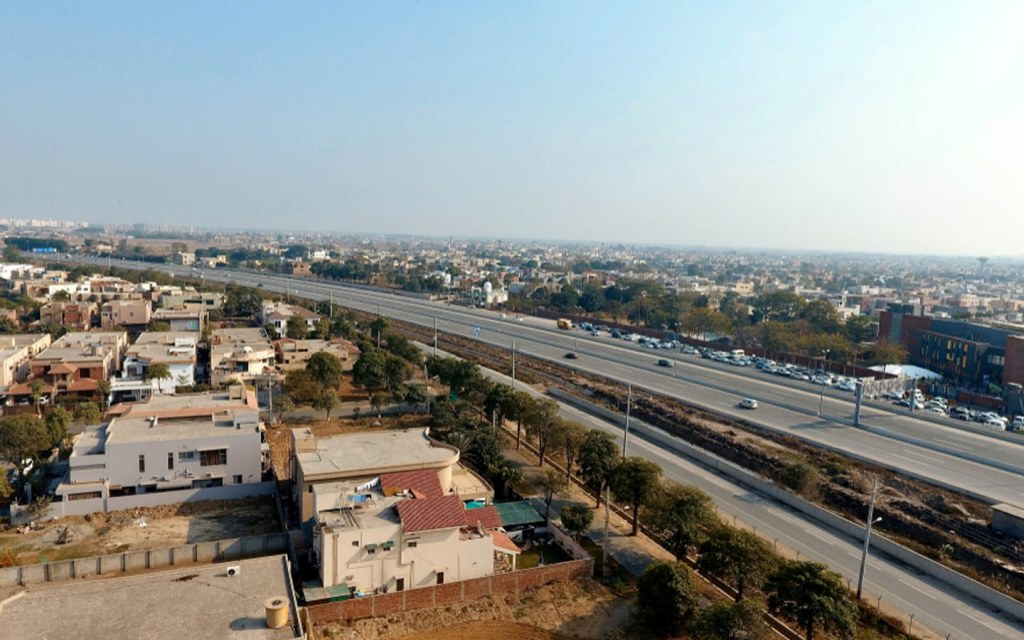 Skyview of roads in Lahore