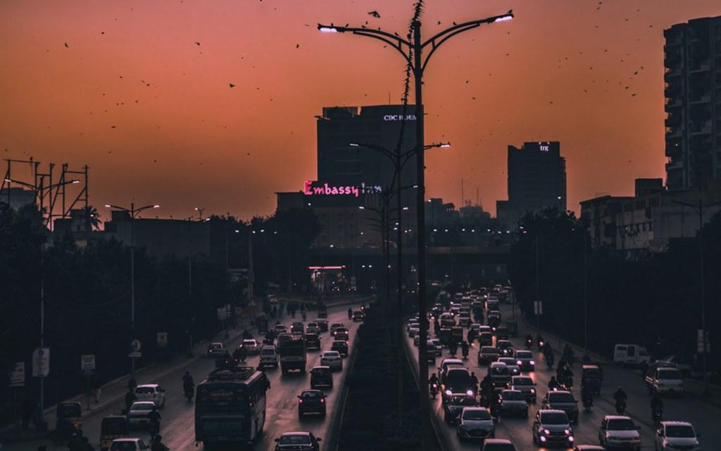 Night view of roads in Karachi