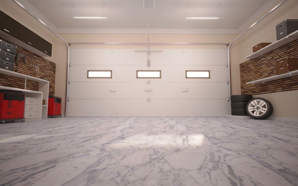 Car garage in a house portion