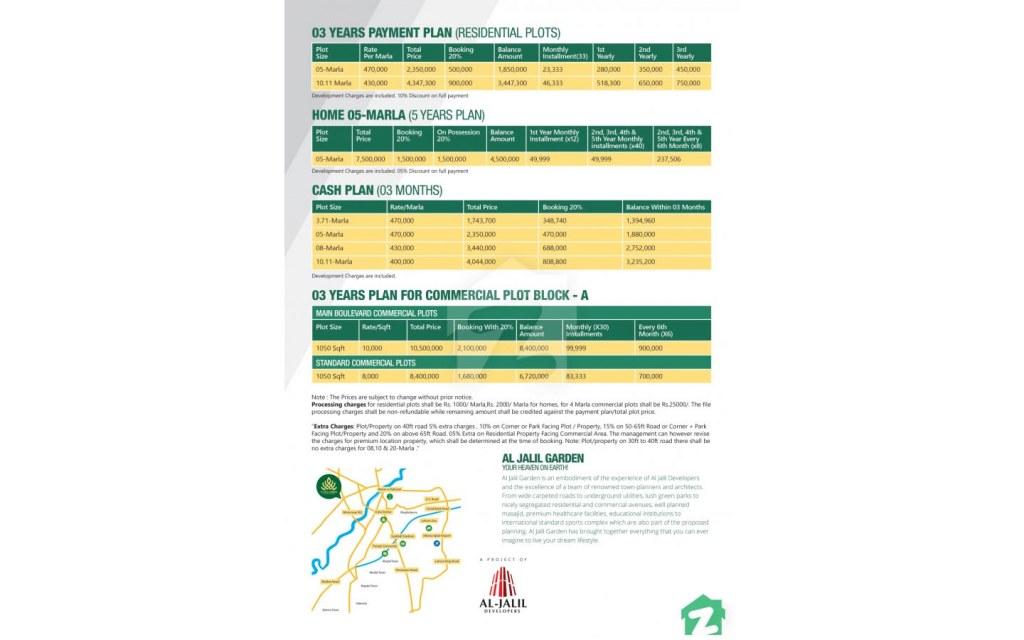Payment Plan of Al-Jalil Garden, Lahore