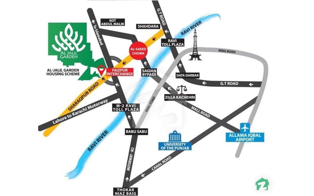 Location of Al-Jalil Garden, Lahore
