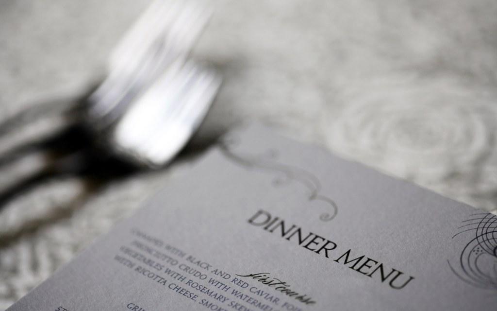 A template of dinner menu