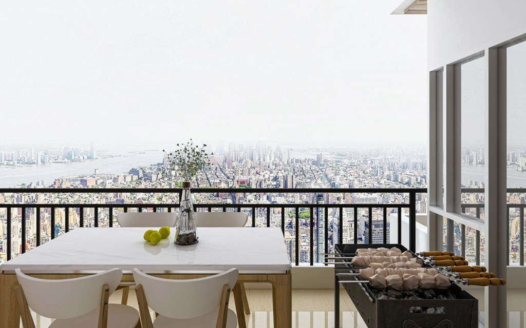 Dining table in the open balcony