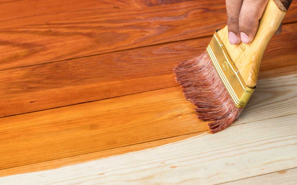 staining the wooden stairs
