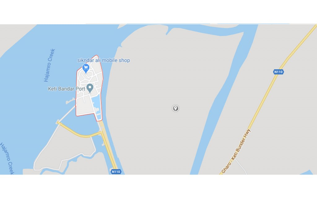 Google maps location of Keti Bander Seaport