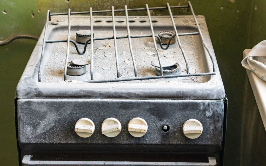 Broken and abandoned stove