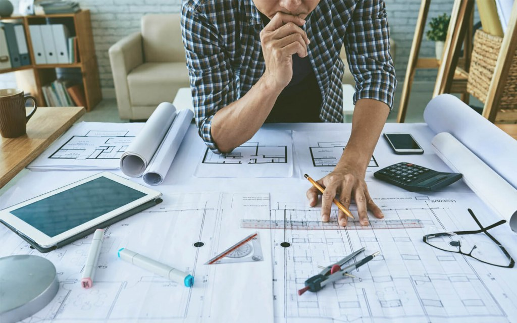 Architect designing a plan