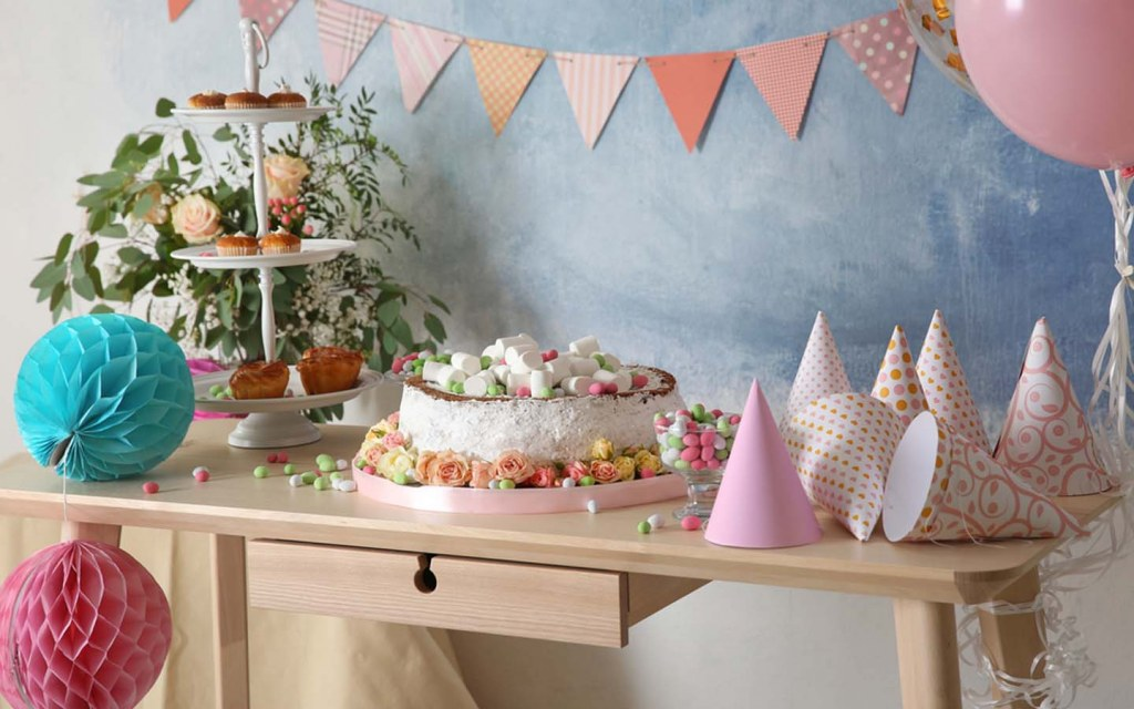 Use honeycomb paper balls for birthday decorations
