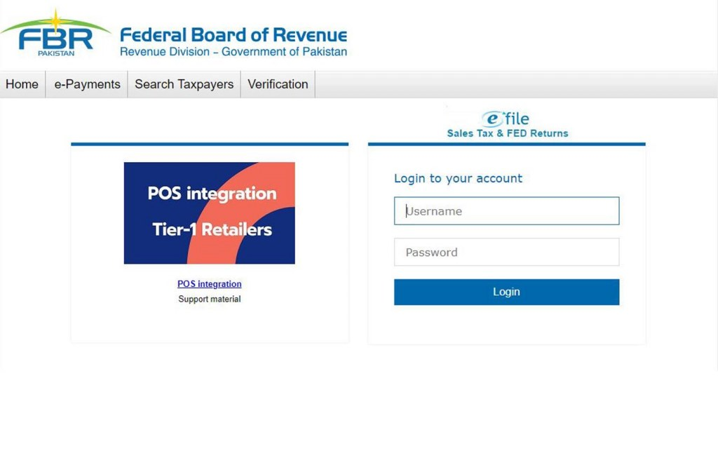 efile Portal of the FBR for Sales Tax