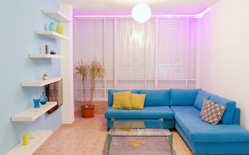 living room with colourful lighting