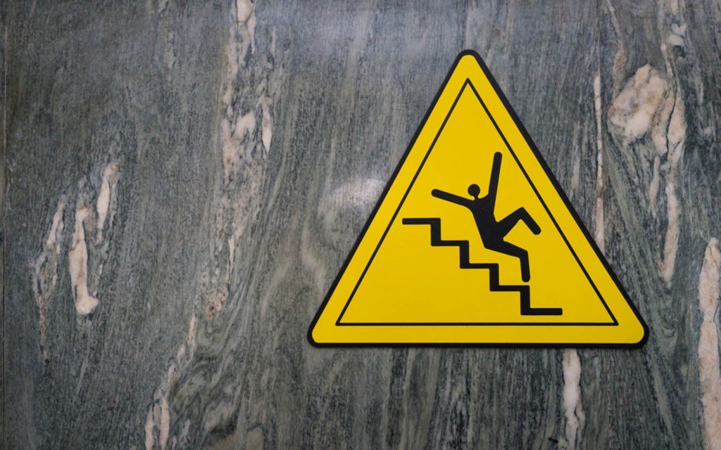 Marble can be a slippery surface for stairs