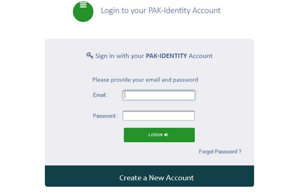 Create a new account at NADRA