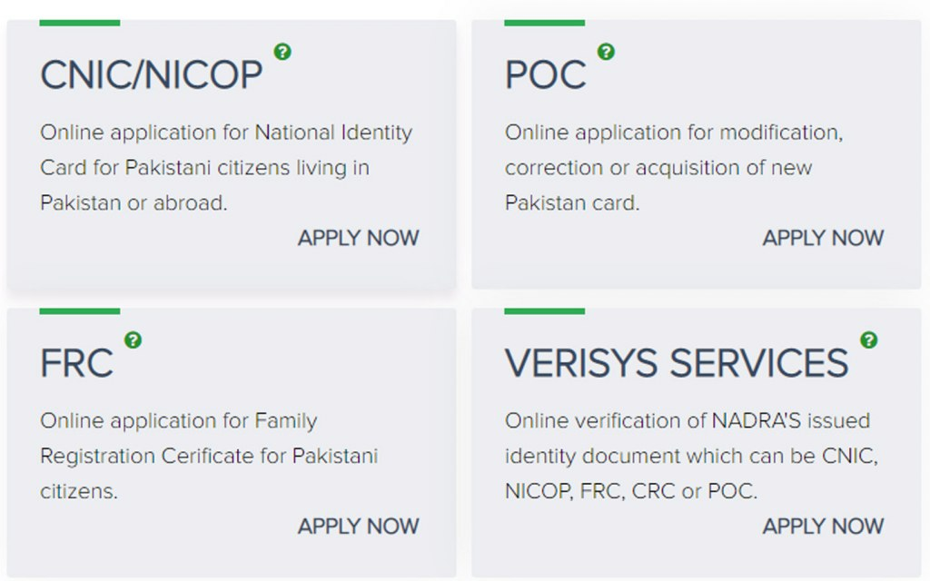 Different identity products by NADRA