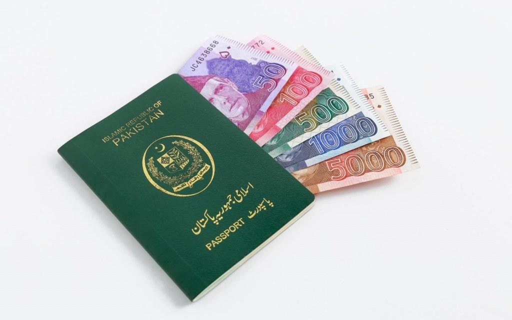 Pakistani passport with pakistani currency