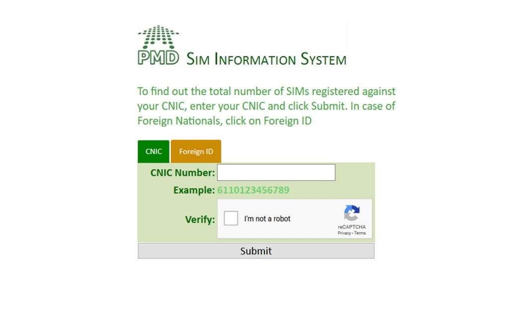 PTA Sim Information website
