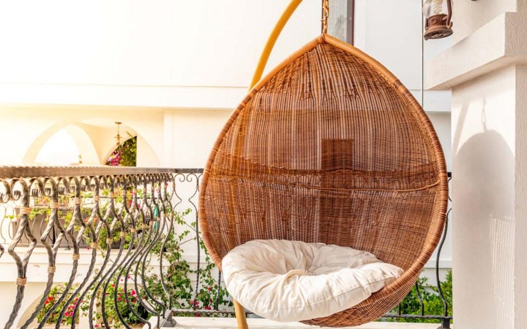 hanging chair on balcony