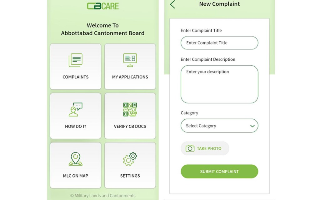 screengrab of the CBCare app