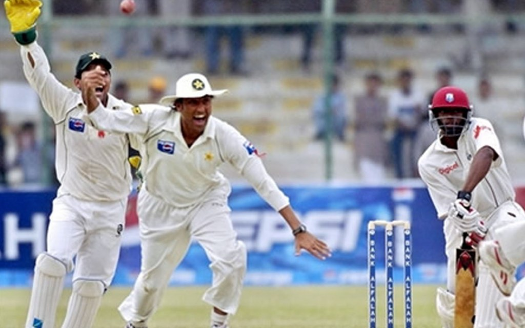 Younis Khan celebrating his victory at National Stadium