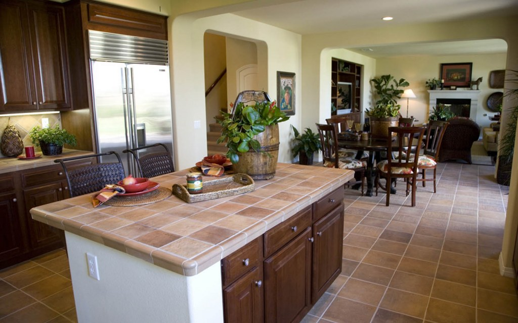 cover old bathroom and kitchen countertops with tiles