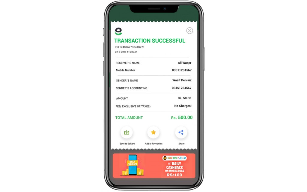 Payment Receipt on Easypaisa