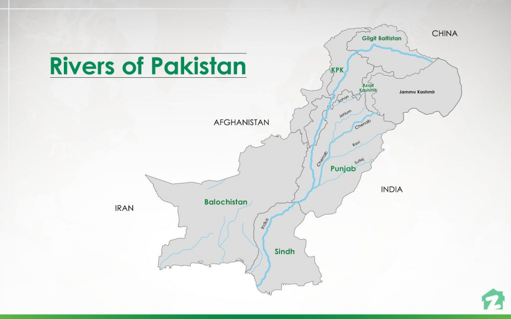map of rivers of Pakistan