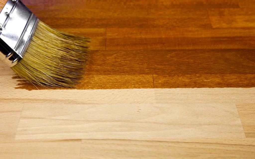 apply a stain on the hardwood floor