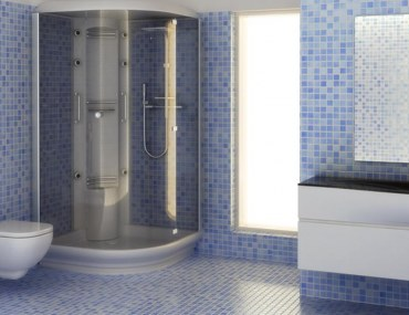 mosaic glass tile flooring in bathrooms