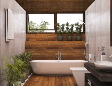 ways to use wood in the bathroom