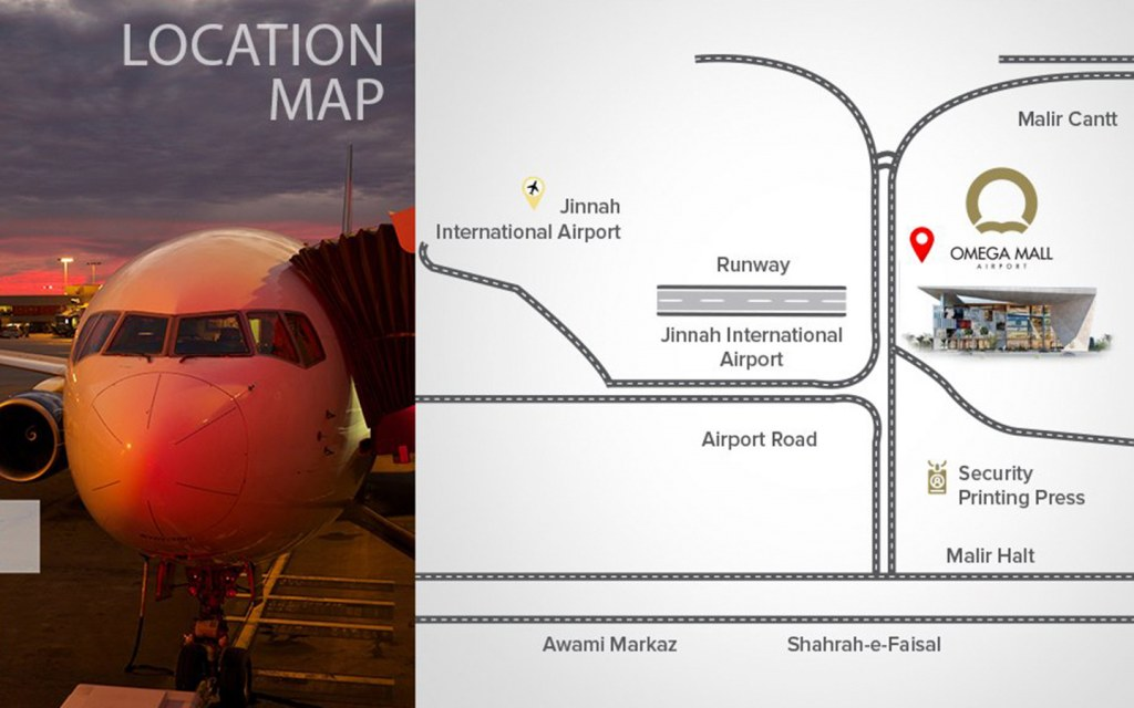 Location of Omega Mall Airport in Karachi