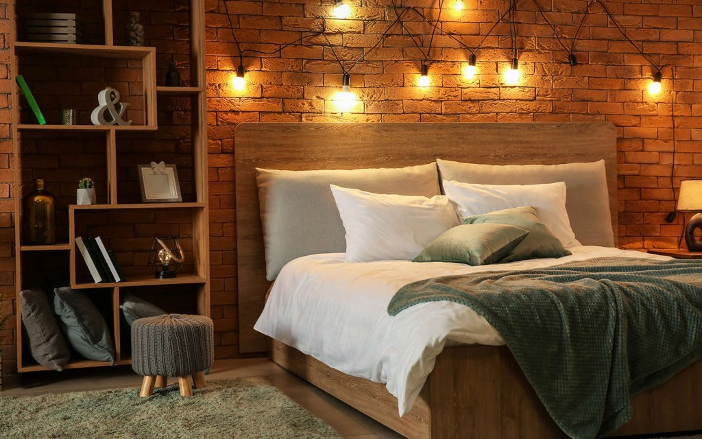 hang fairy lights as above-bed wall décor