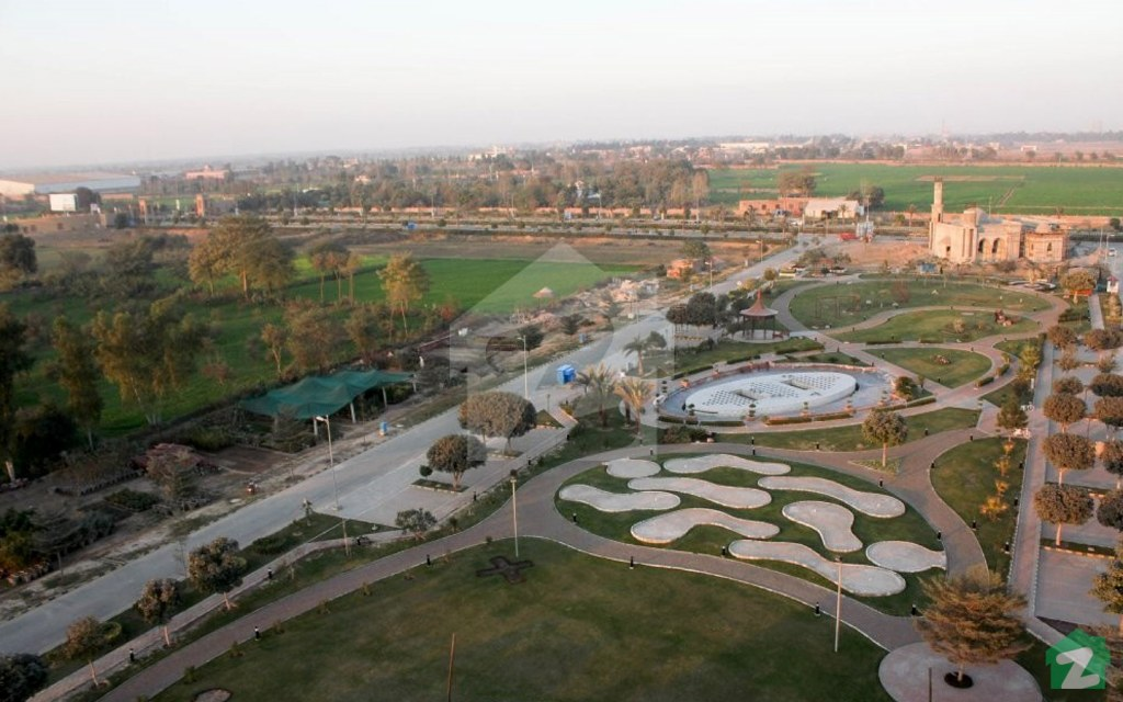 An aerial shot of park at the New Lahore City