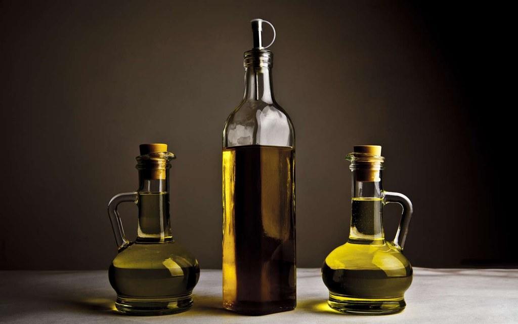 oil bottles on kitchen countertop