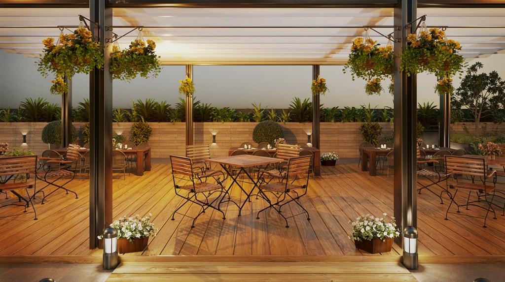 indoor dining area of Zameen Aurum