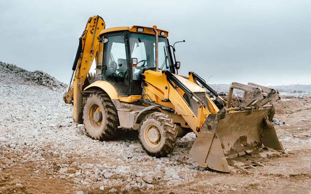 A backhoe is a popular construction machinery