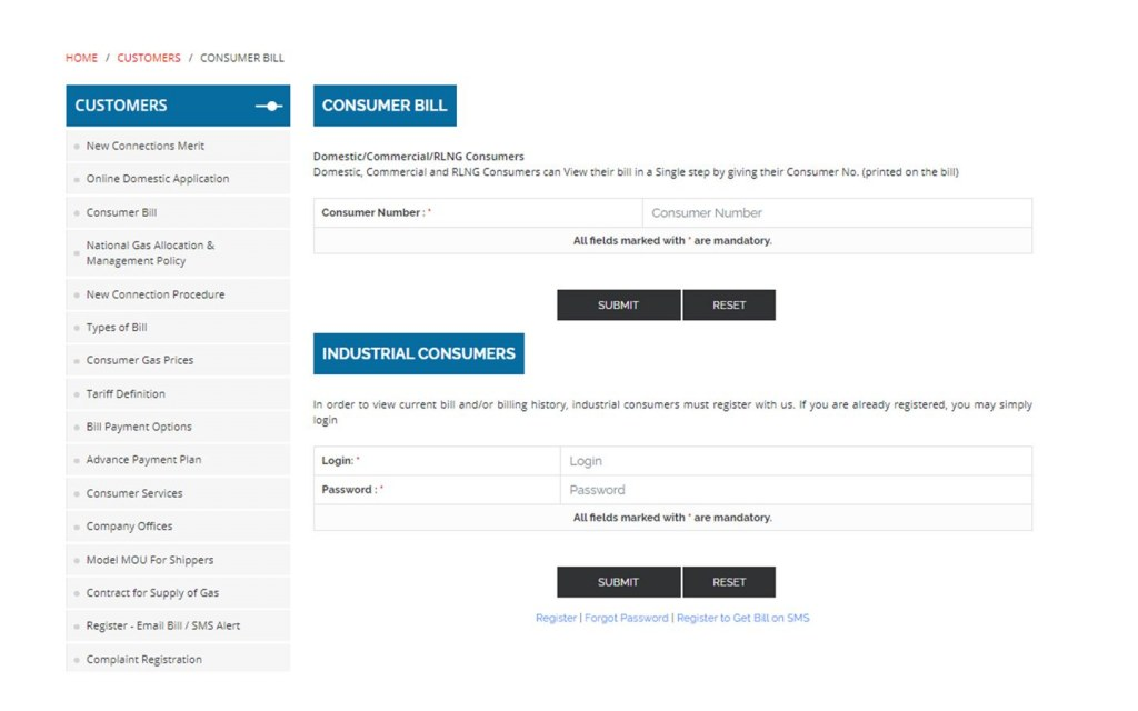 Sui Northern Gas Pipelines Limited online bill