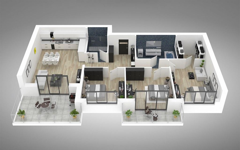 3D floor plan of a living space