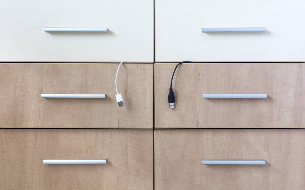 Tuck Wires Away in a Cabinet or Drawer