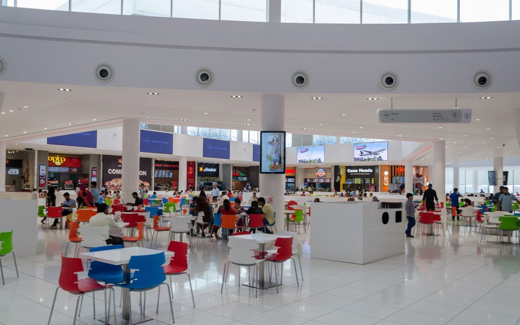 food court in a modern shopping complex