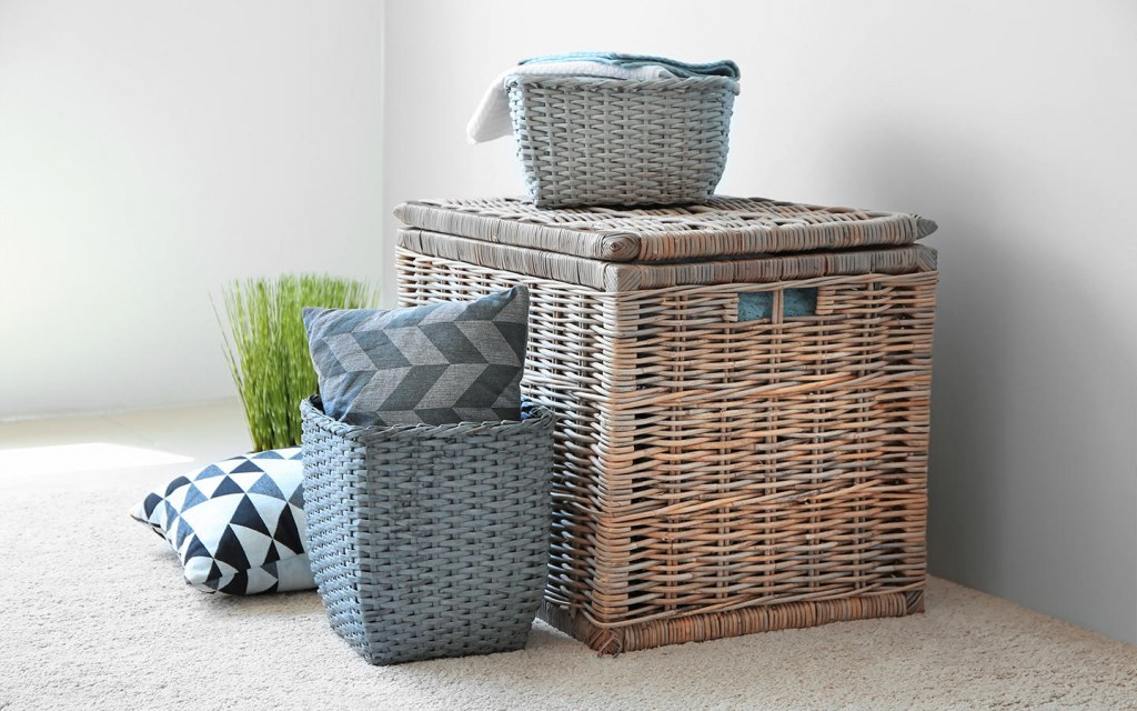 Use wicker basket to store clothes