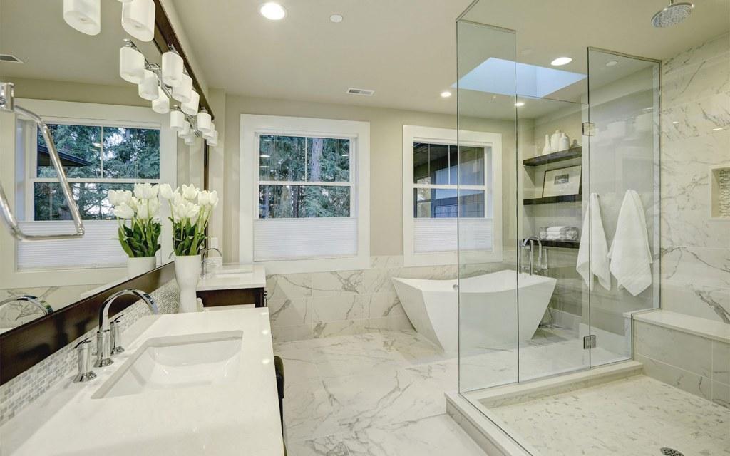 try installing ceiling lights in bathroom